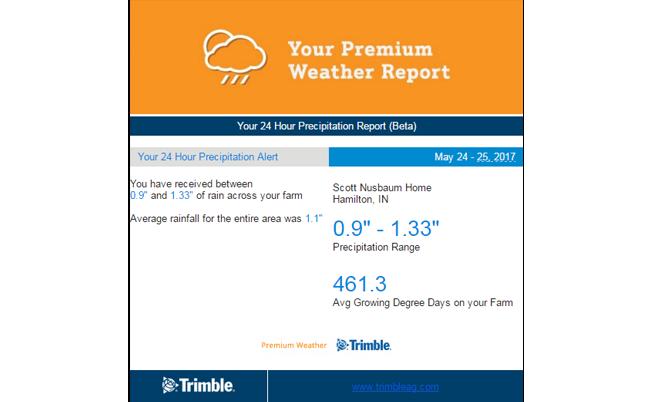 Alertas meteorológicas de Trimble Farm